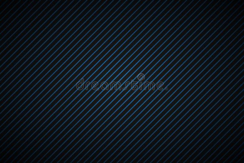 与蓝色和黑倾斜的线的黑暗的抽象背景 皇族释放例证