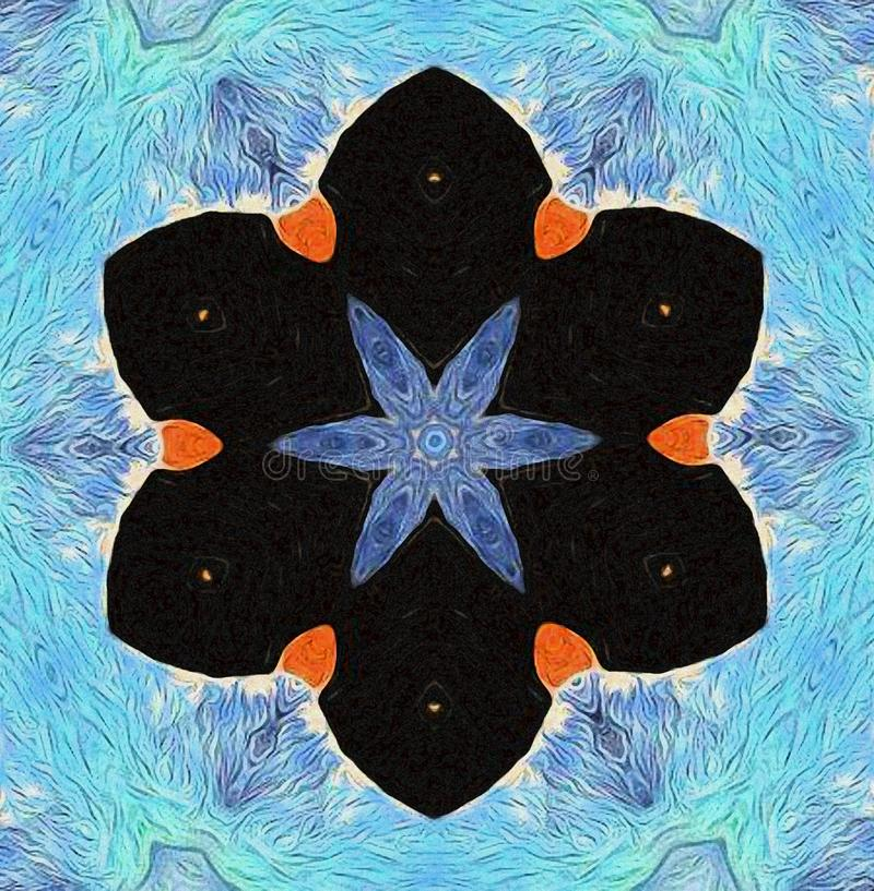 与蓝色和黑色的黑鹂abstracto 向量例证