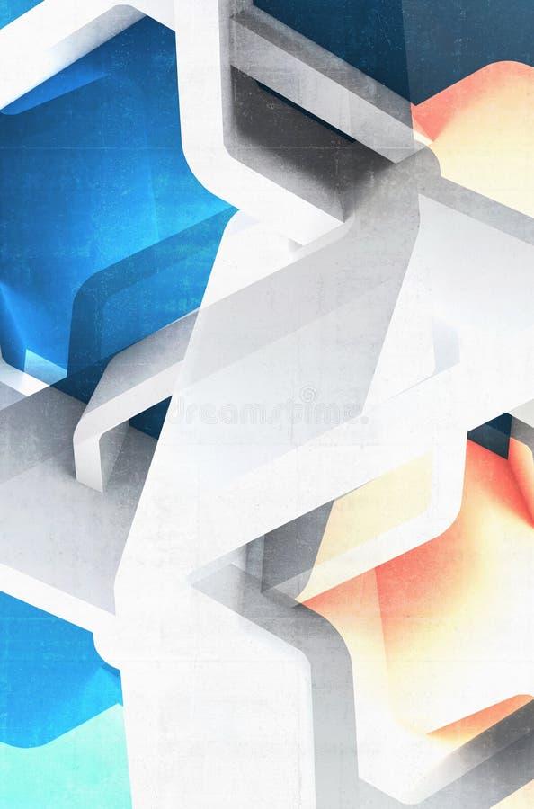 与蓝色和黄斑3 d的抽象结构 库存例证