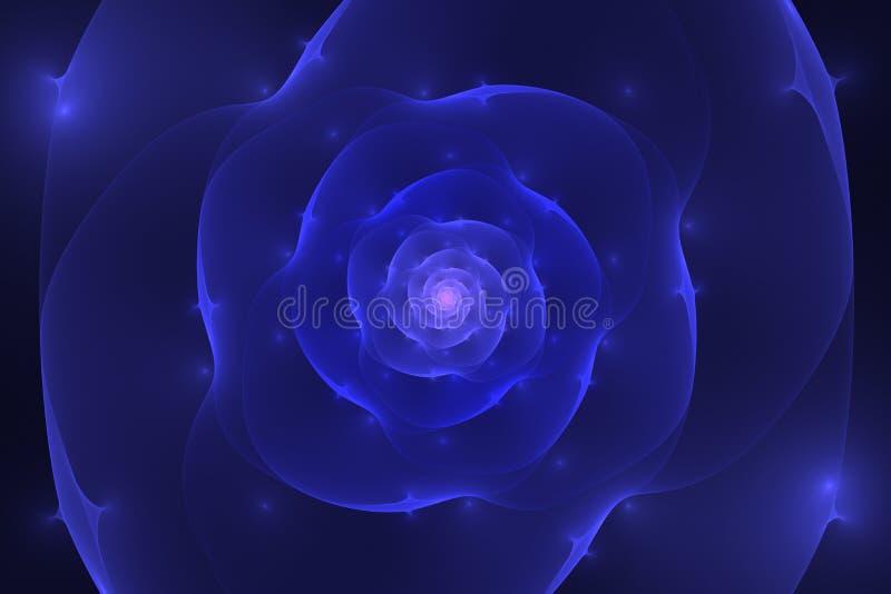 与蓝色和紫色发光的花分类的抽象黑背景 库存例证