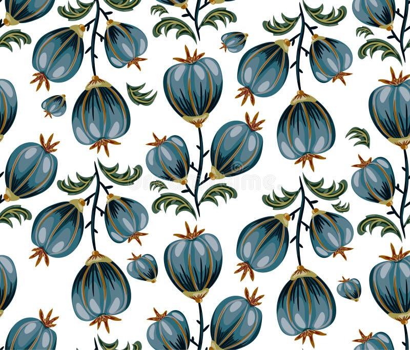 与蓝色圆的花的无缝的花卉背景在白色 皇族释放例证