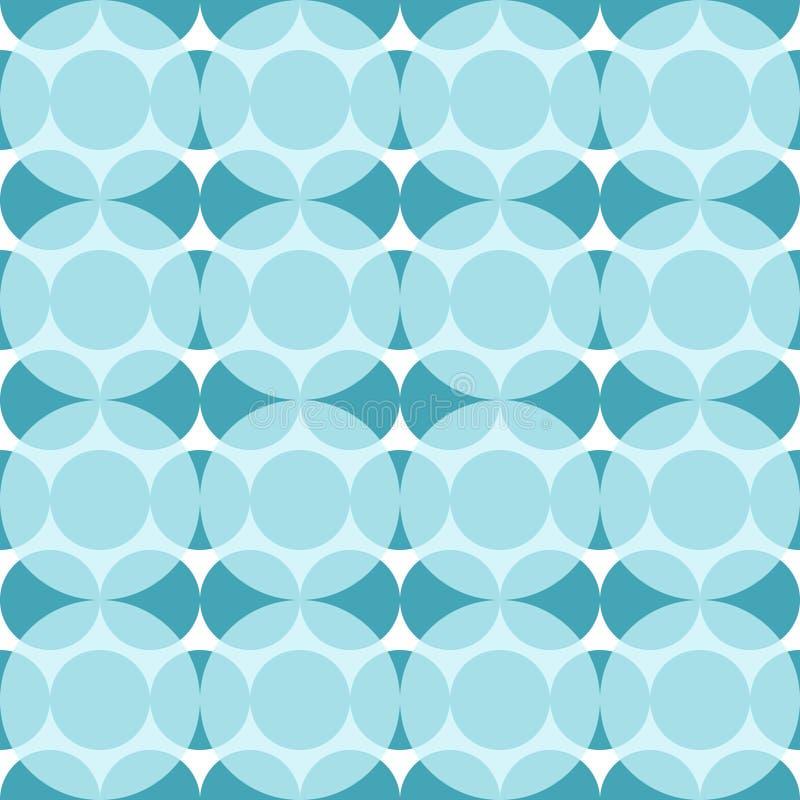 与蓝色圈子的无缝的样式 黑暗和浅兰的圈子的抽象 皇族释放例证