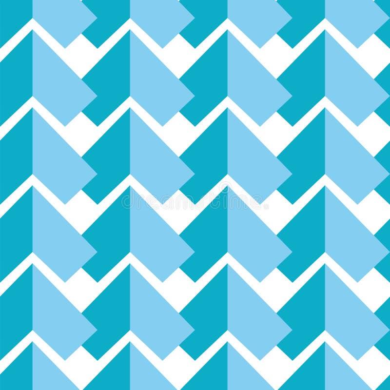 与蓝色在白色背景的元素对称元素两片树荫的几何抽象无缝的样式在锦砖猪圈 库存例证