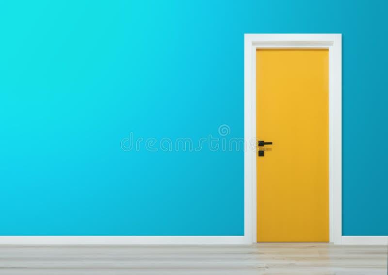 与蓝色墙壁和木地板的黄色门 免版税图库摄影