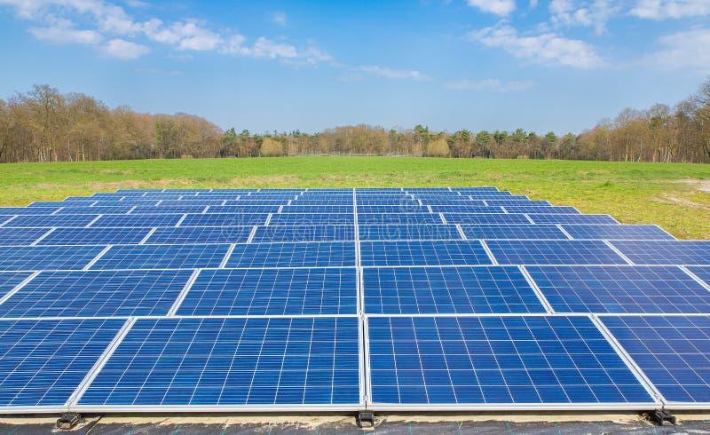 与蓝色太阳电池板的荷兰风景调遣 免版税库存图片