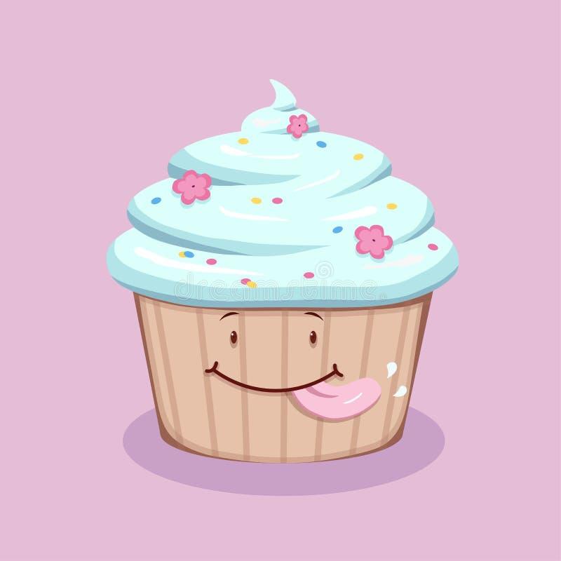 与蓝色奶油的逗人喜爱的舔的杯形蛋糕 向量例证