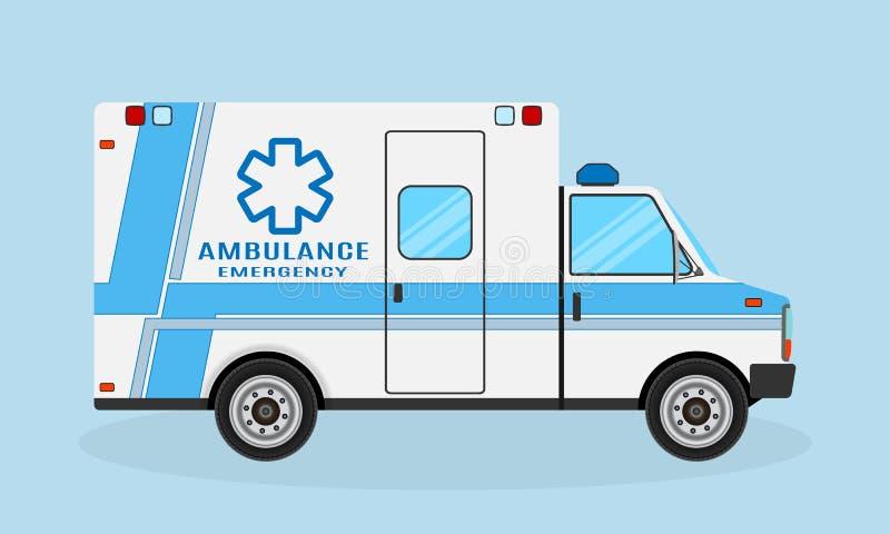 与蓝色小条的救护车汽车侧视图 紧急医疗服务车 伤员运输船 库存例证