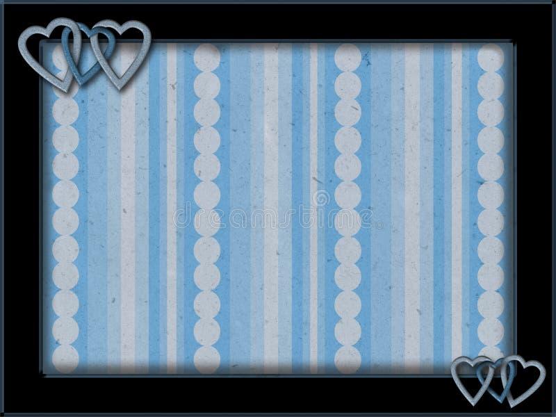 与蓝色心脏和背景的框架 库存例证