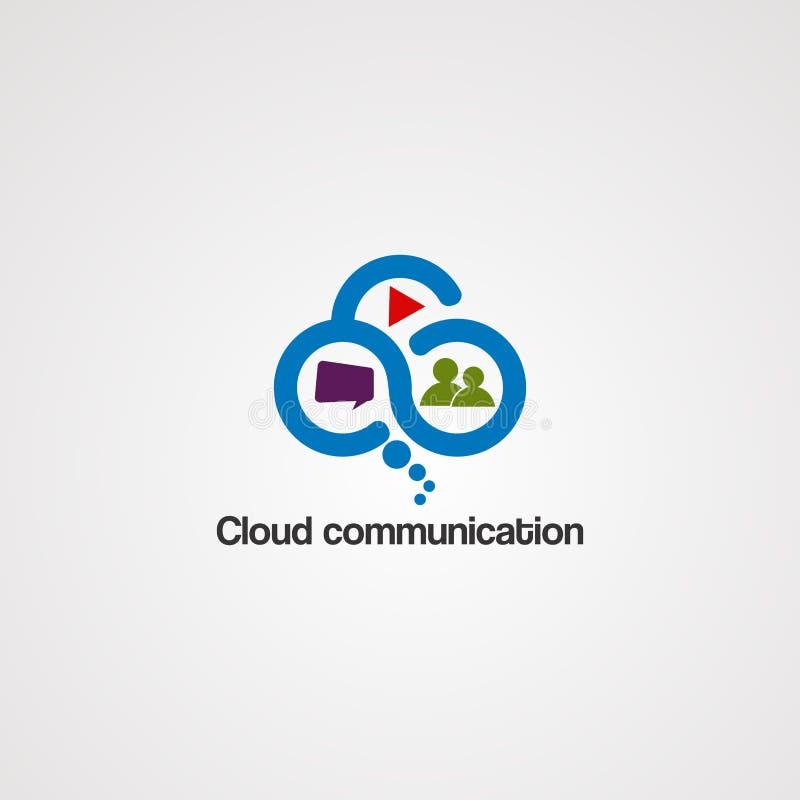 与蓝色梦想概念商标传染媒介、象、元素和模板的云彩通信事务的 向量例证
