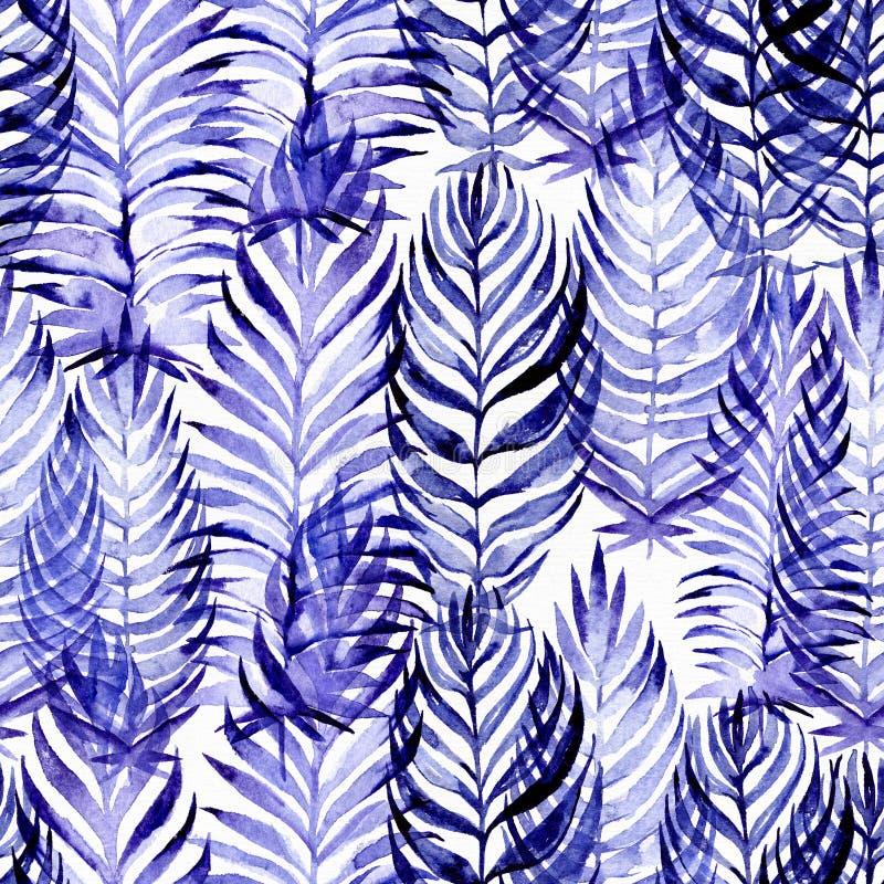 与蓝色棕榈叶的手拉的无缝的样式,画与紫色和蓝色水彩和刷子 叶子用不同的大小和 向量例证