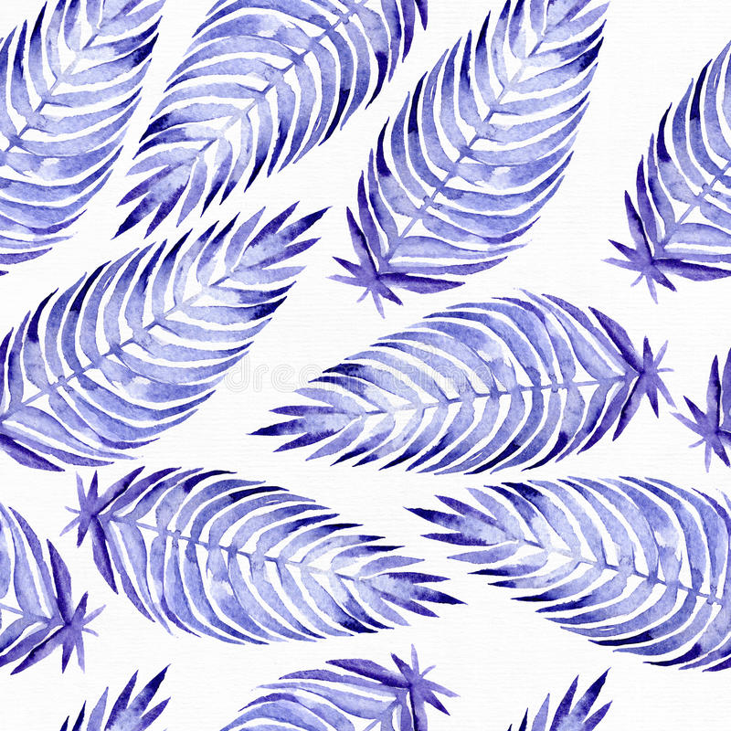 与蓝色棕榈叶的手拉的无缝的样式,画与紫色和蓝色水彩和刷子 叶子用不同的大小和 皇族释放例证
