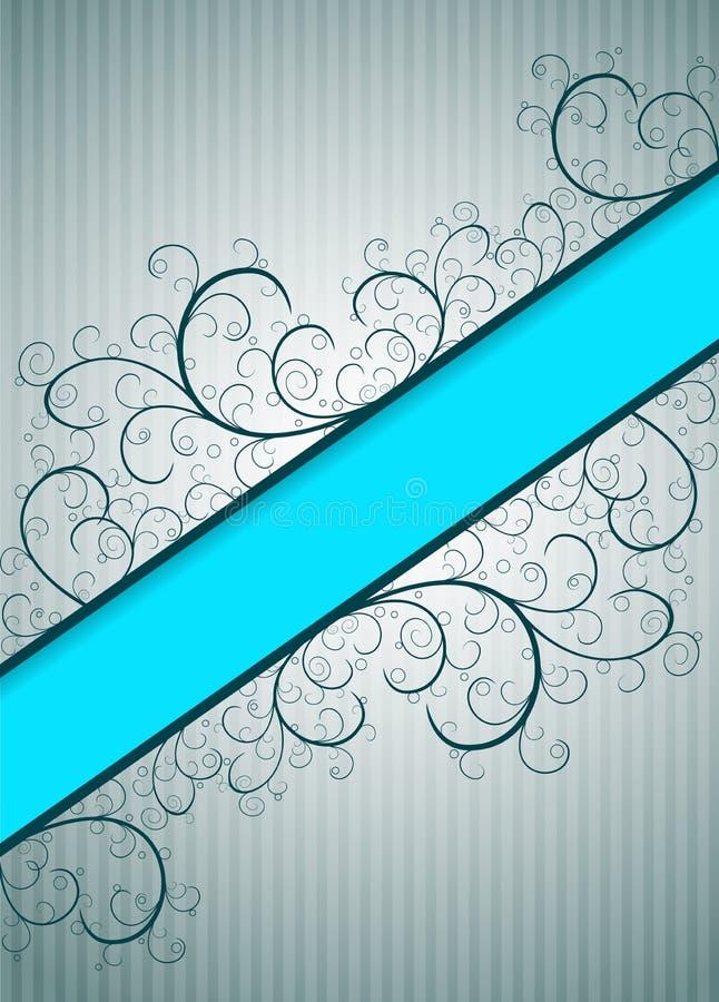 与蓝色横幅的抽象花卉背景 向量例证