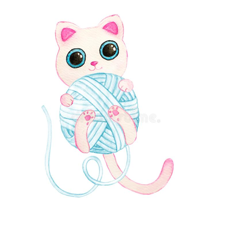 与蓝色毛线的水彩小猫 免版税库存图片