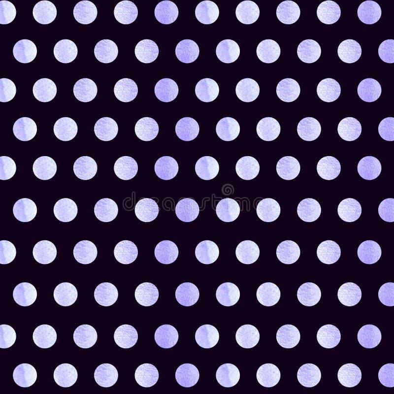 与蓝色水彩圆点样式的黑背景 圆点织品 : 偶然时髦的黑光 免版税库存照片