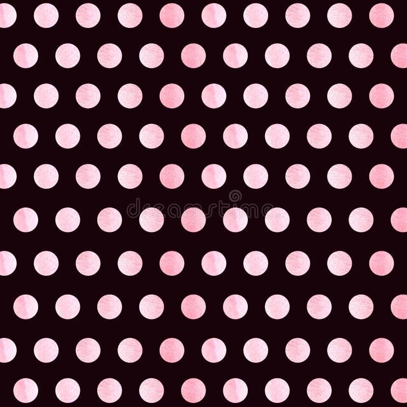 与蓝色水彩圆点样式的黑背景 圆点织品 : 偶然时髦的黑褐色 库存例证