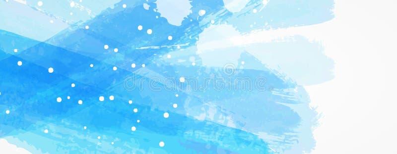 与蓝色水彩的横幅掠过了线 皇族释放例证