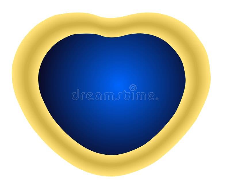 与蓝色水晶宝石的心脏形状金黄小盒被隔绝反对白色背景3D传染媒介例证 皇族释放例证