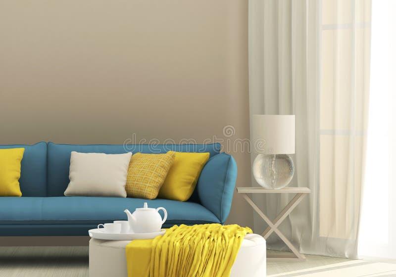 与蓝色沙发的光内部 免版税库存图片