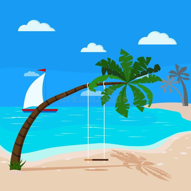 与蓝色海洋和可可椰子,在棕榈树,风船的摇摆的全景热带海景 库存例证