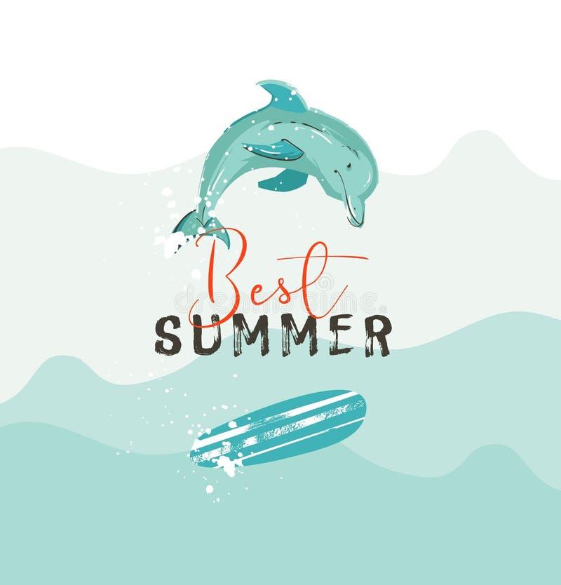 与蓝色海浪、海豚,冲浪板和现代的手拉的传染媒介摘要夏时例证海报 库存例证