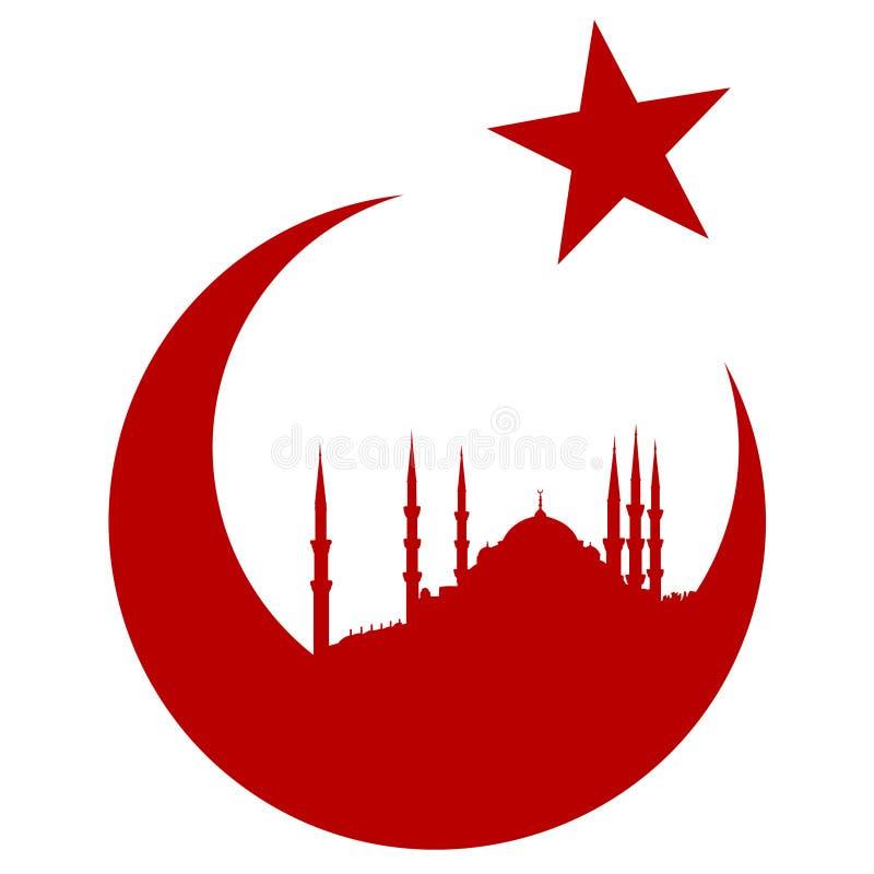 与蓝色清真寺的土耳其标志 皇族释放例证