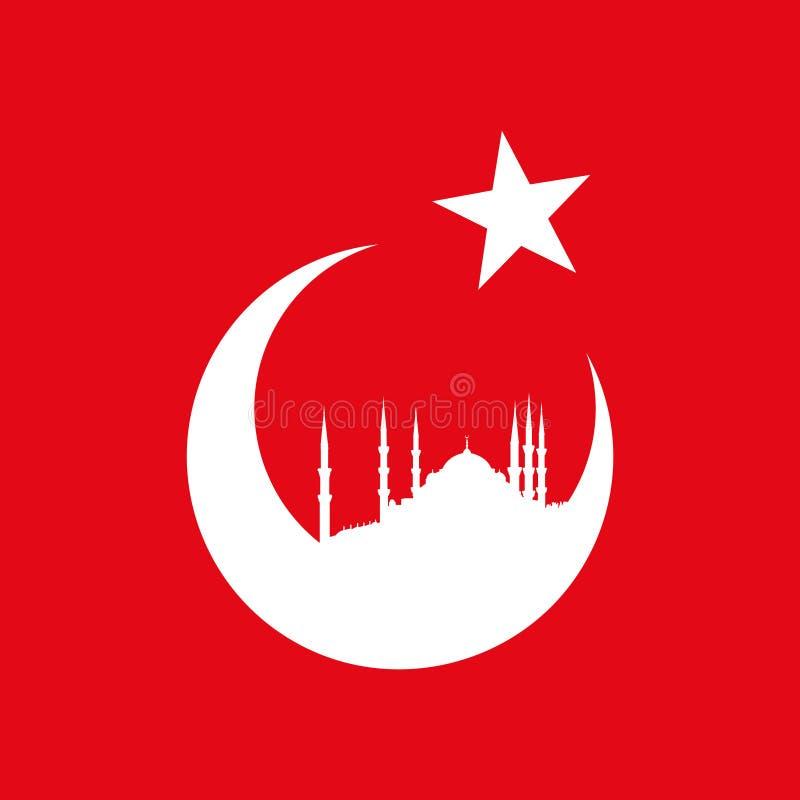 与蓝色清真寺的土耳其标志 库存例证
