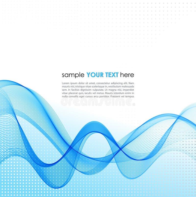与蓝色烟波浪的抽象背景 向量例证
