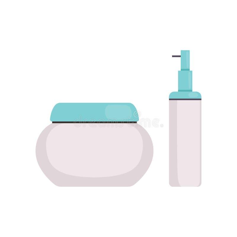 与蓝色焰晕、面孔化妆用品、化妆水、血清或者奶油瓶的Skincare化妆包裹导航例证 皇族释放例证