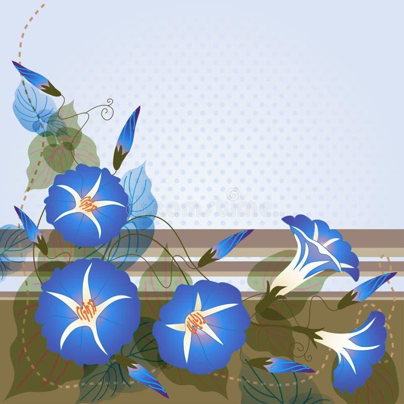 与蓝色牵牛花的背景 皇族释放例证