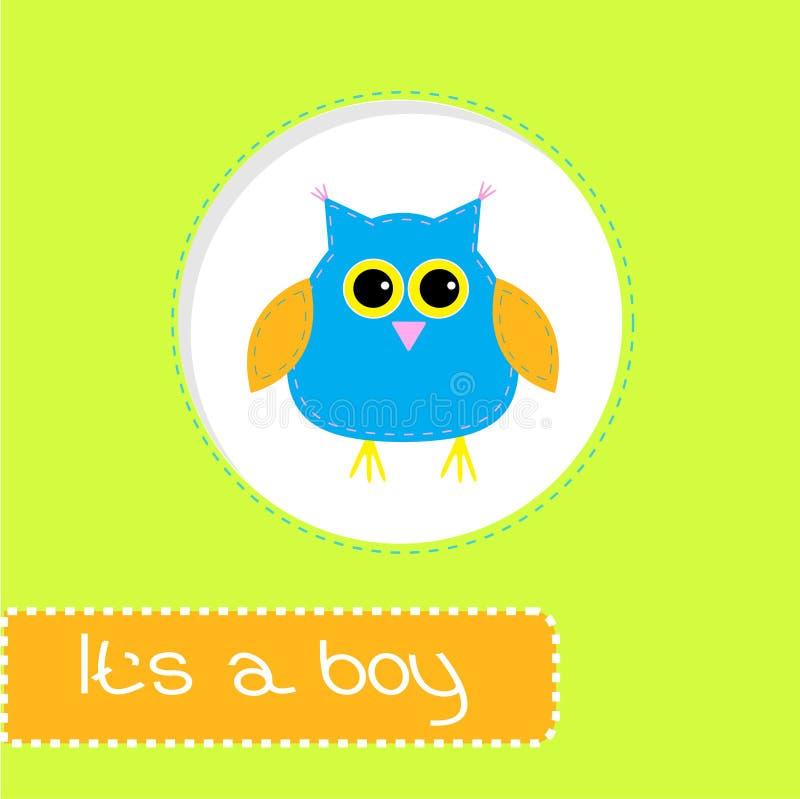 与蓝色猫头鹰的婴儿送礼会卡片。它男孩 皇族释放例证