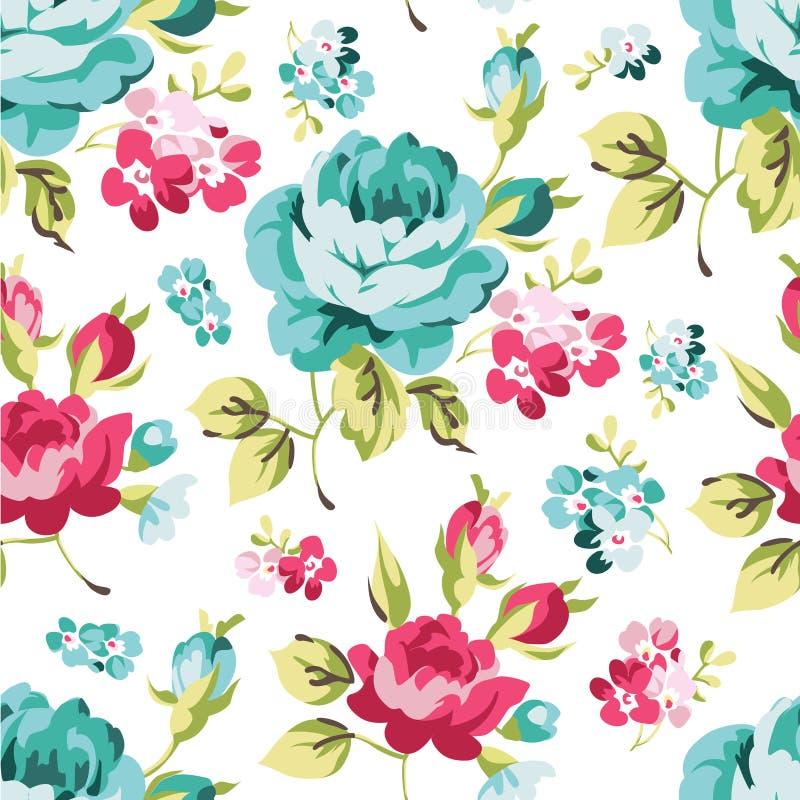 与蓝色玫瑰的花卉无缝的样式 库存例证