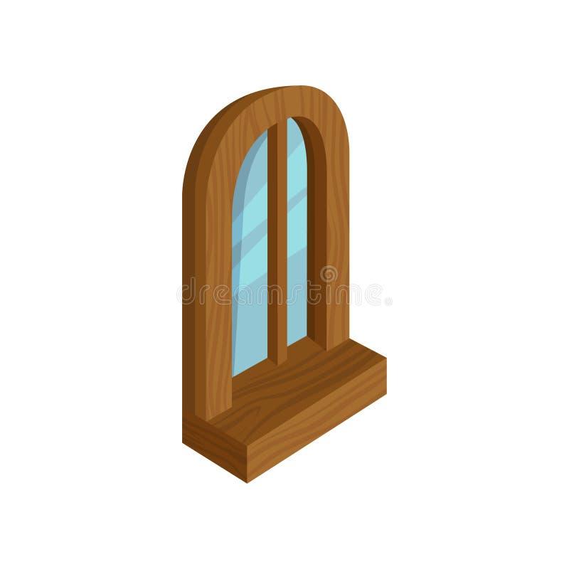 与蓝色玻璃的老木被成拱形的窗口 现代3d样式 计算机或流动比赛的等量传染媒介元素 库存例证