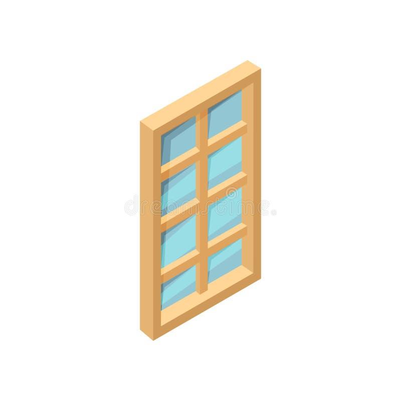 与蓝色玻璃的长方形木窗口 3D样式象 网站或流动app的等量传染媒介元素 库存例证