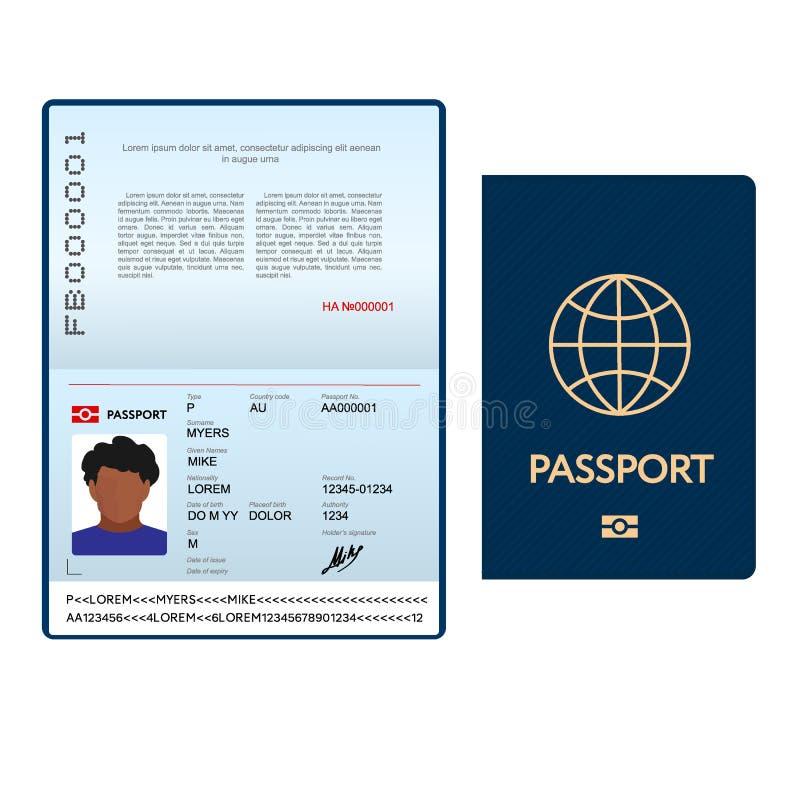 与蓝色盖子的被打开的国际护照模板 向量例证