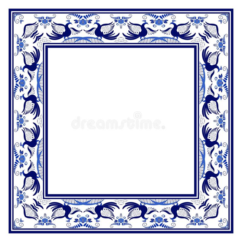 与蓝色种族花卉样式的空的方形的框架与鸟 库存例证