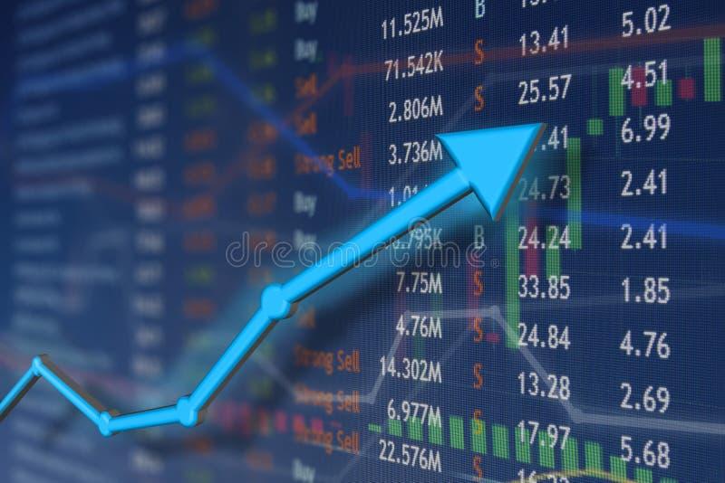 与蓝色箭头和退色的烛台图的股市上升 赢取和成功情感和幸福 图库摄影