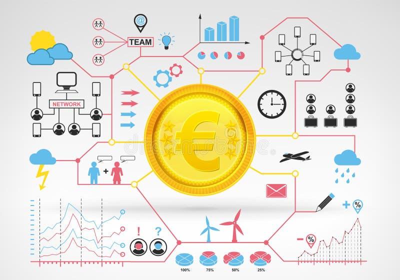 与蓝色红色infographic象和图表的欧洲硬币收入 向量例证