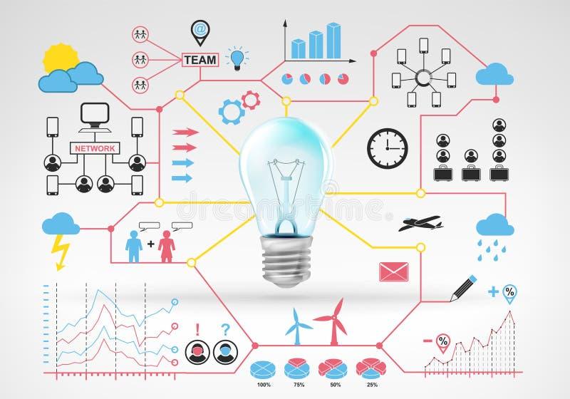 与蓝色红色infographic象和图表的电电灯泡想法 皇族释放例证