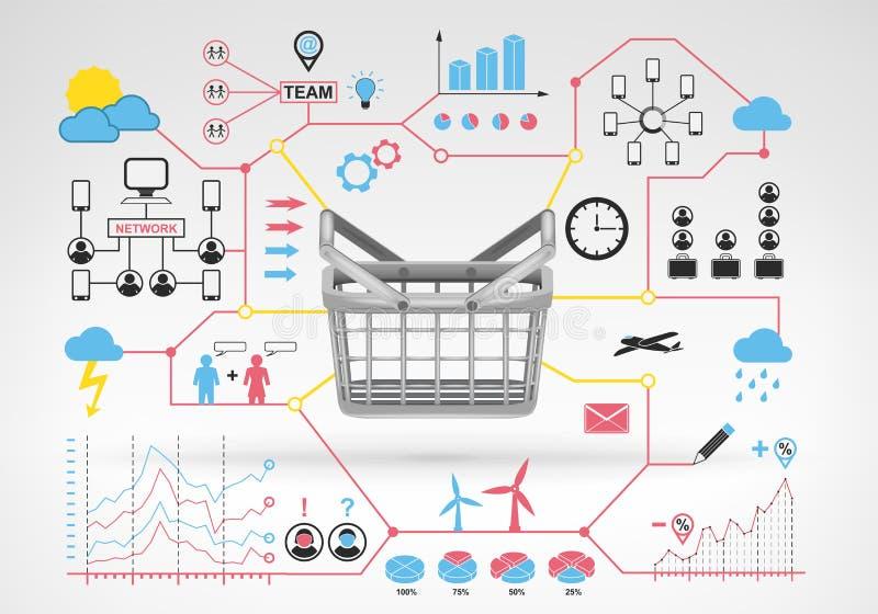 与蓝色红色infographic象和图表的购物的空的篮子 库存例证