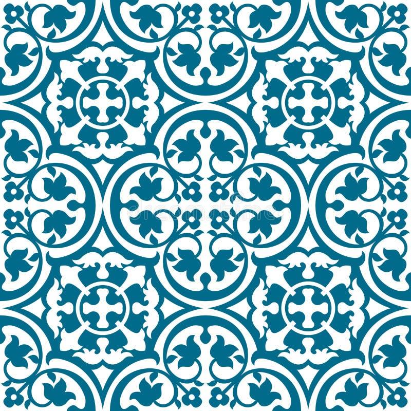 与蓝色网眼图案的无缝的典雅的花卉样式 向量例证