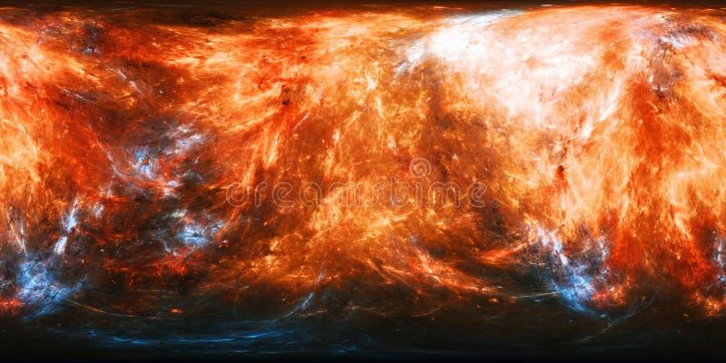 与蓝色能量爆炸全景地图的火热的行星纹理 向量例证