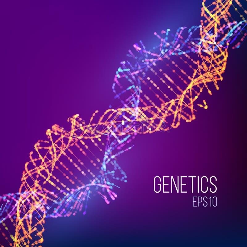 与蓝色脱氧核糖核酸的抽象例证医疗设计的 染色体传染媒介例证 科学背景 抽象向量 皇族释放例证