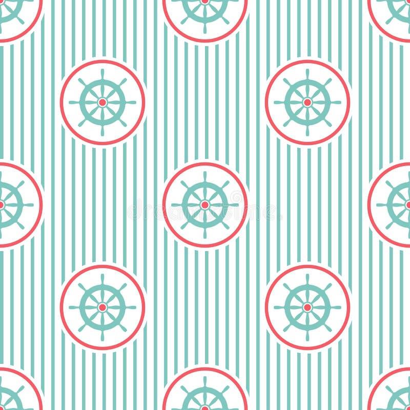 与蓝色舵的船舶无缝的条纹图形在白色 船和小船方向盘装饰品 库存例证