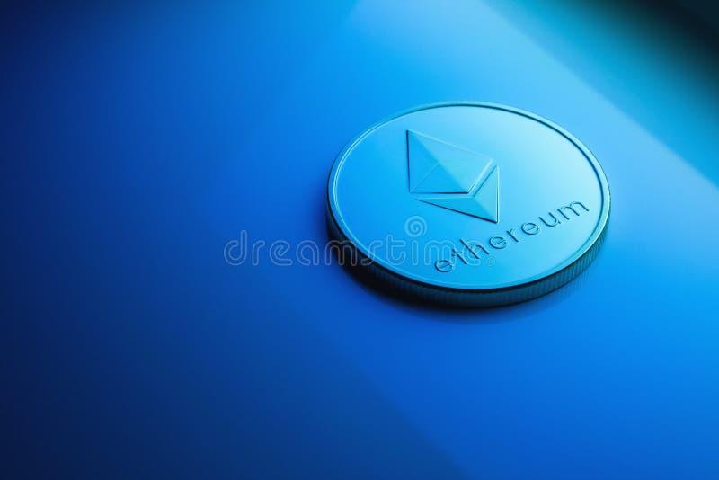 与蓝色色彩的Ethereum硬币 免版税图库摄影