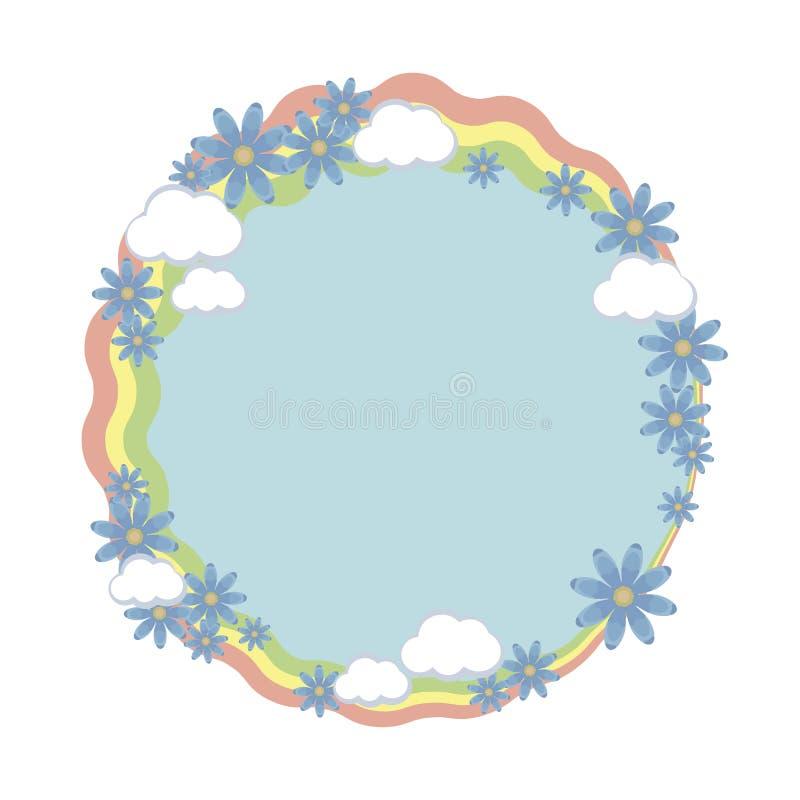 与蓝色花和白色云彩的构成的圆的框架花圈彩虹条纹导航在白色背景隔绝的对象 向量例证