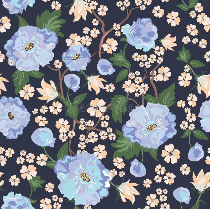 与蓝色花的无缝的传染媒介样式 库存照片