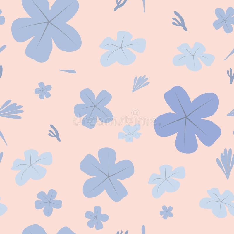 与蓝色花的无缝的花卉样式在橙色backgound 向量例证