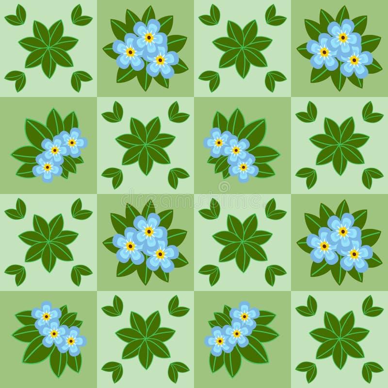 与蓝色花的花卉无缝的样式 图库摄影