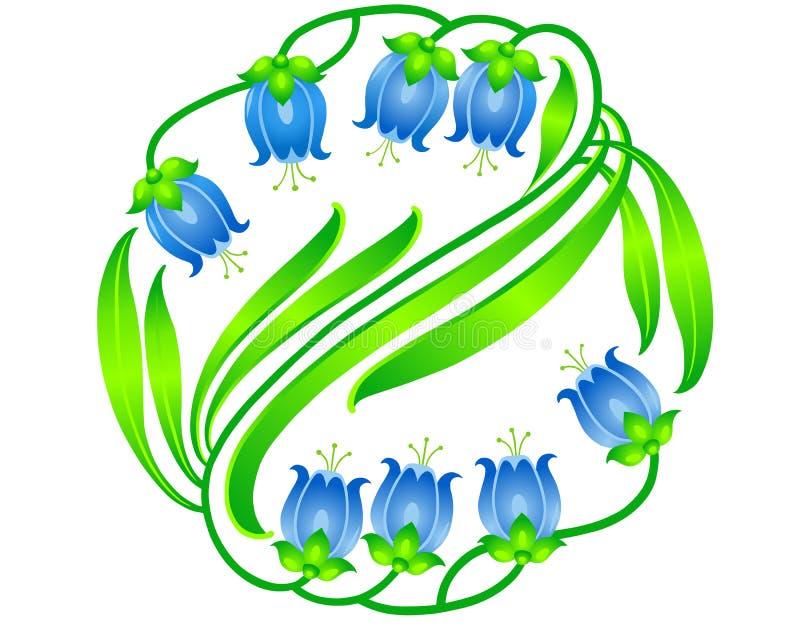 与蓝色花的花卉样式 向量例证