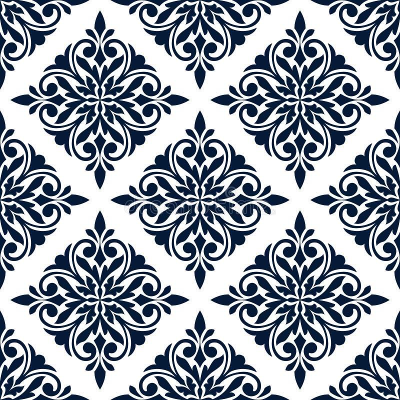 与蓝色花饰的锦缎无缝的样式 皇族释放例证